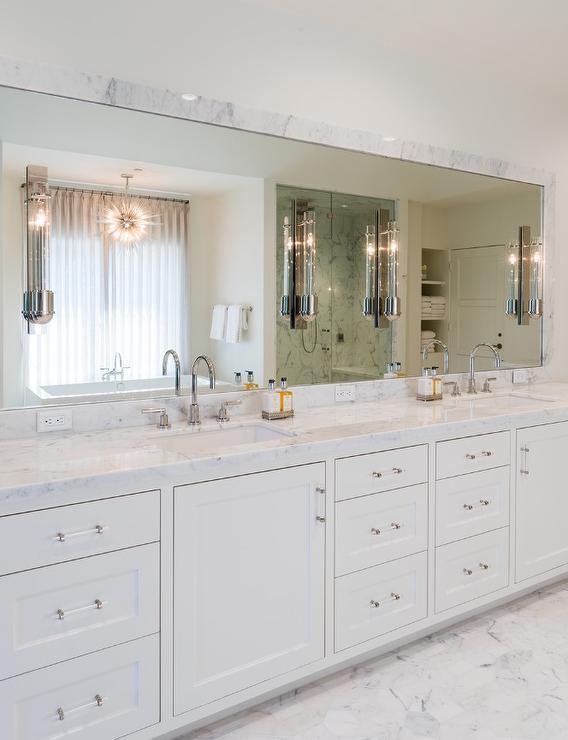 Bathroom Vanity Pulls gray dual bath vanity with glass pulls and overmount sinks