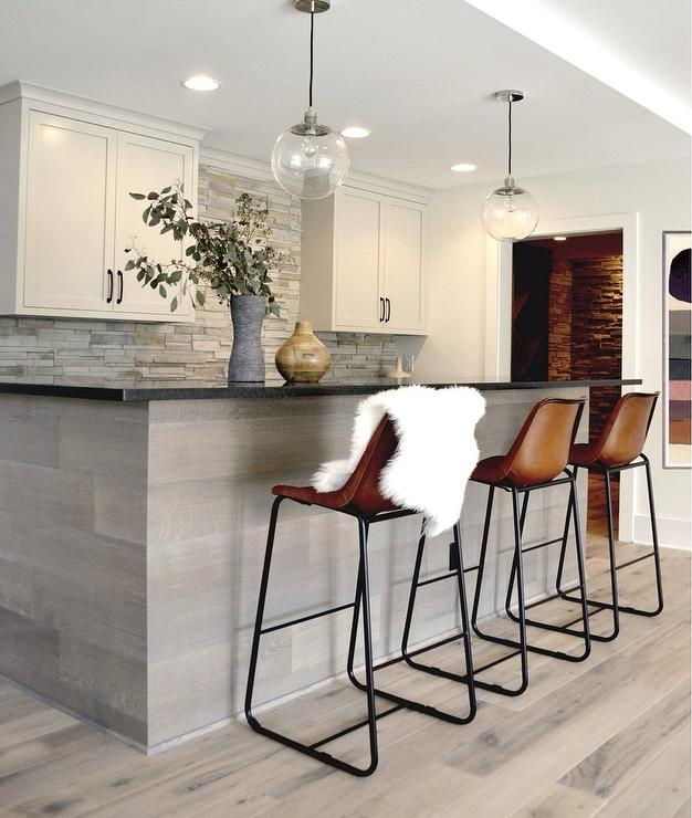Black And White Kitchen With Tolix Marais Counter Stools