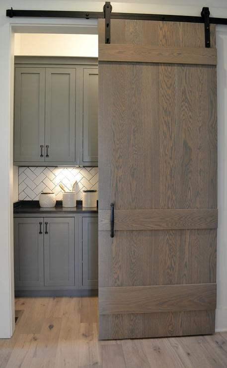 Exceptional Gray Wash Oak Barn Door On Rails