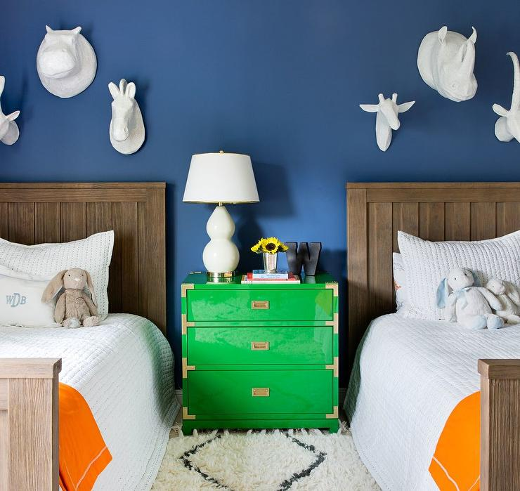 Boys Room with Shared Green Campaign Nightstand - Contemporary ...