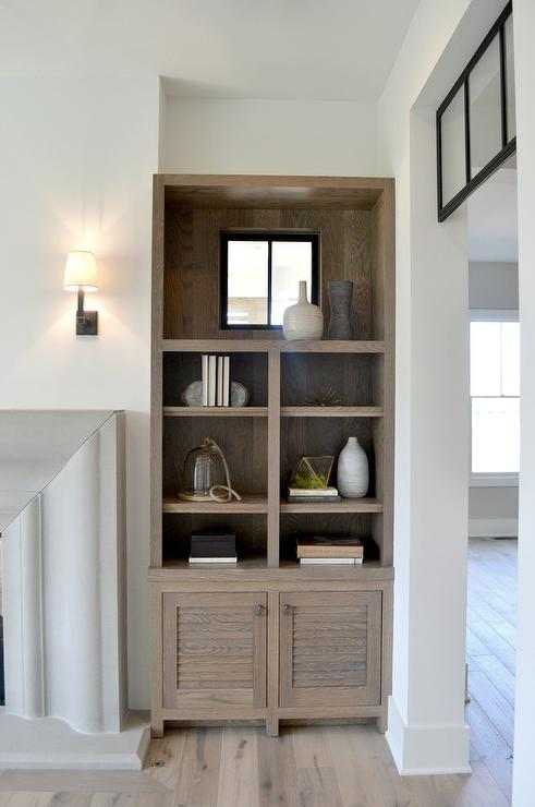 Gray Wash Louvered Shelving Unit view full size