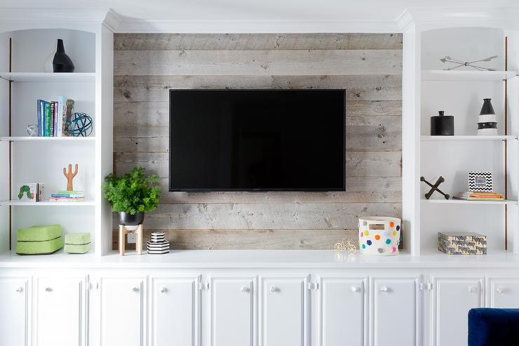 Television on Barn Board Wall Transitional Living Room