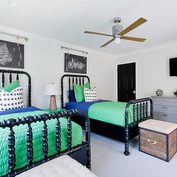 Blue And Green Shared Boys Bedroom Design
