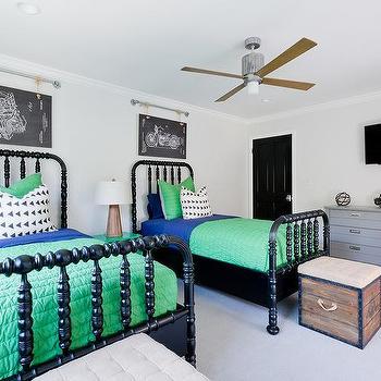 blue and green shared boys bedroom design - Jenny Lind Bed