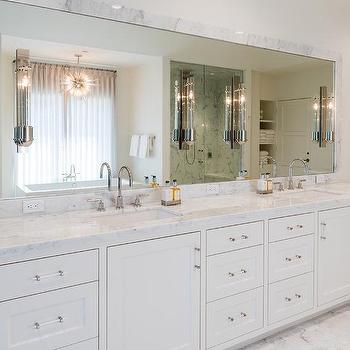 Marble Frame Mirror With White Double Washstand