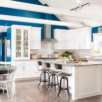 track lighting vaulted ceiling. White And Blue KItchen With Wood Beams On Vaulted Ceiling Track Lighting S
