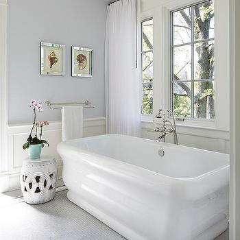 Soft Gray Bathroom Walls With Wainscoting
