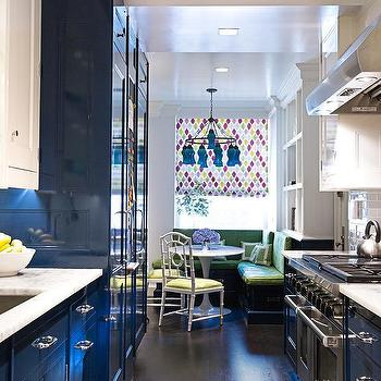 Glossy Blue Galley Kitchen Design