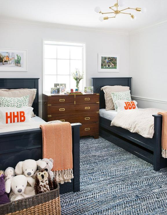 Glossy Navy Blue Lacquered Bed with Trundle - Transitional ...