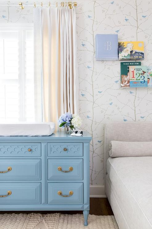 Blue Vintage Dresser As Changing Table Transitional