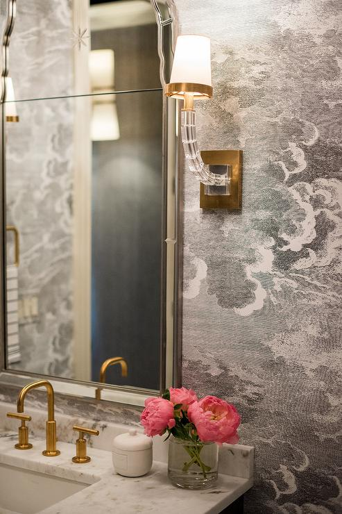 White And Gold Powder Room With Fornasetti Nuvole Wallpaper