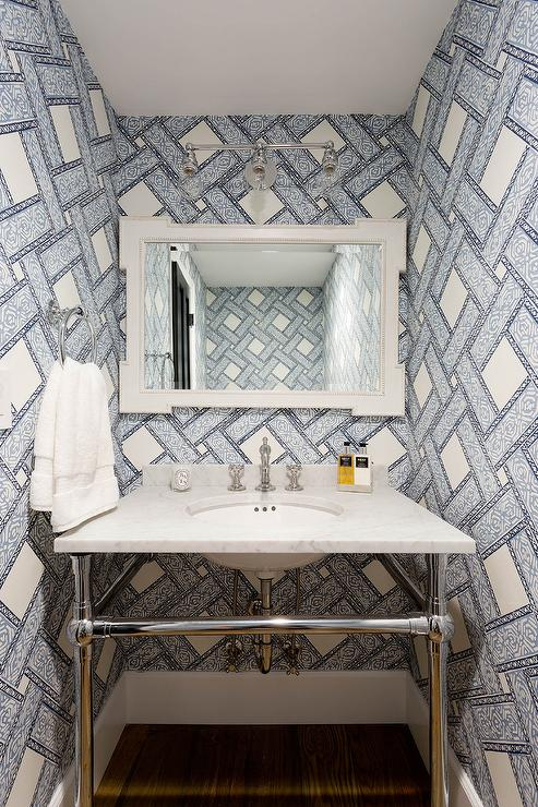 Ivory And Blue Powder Room With French Vanity