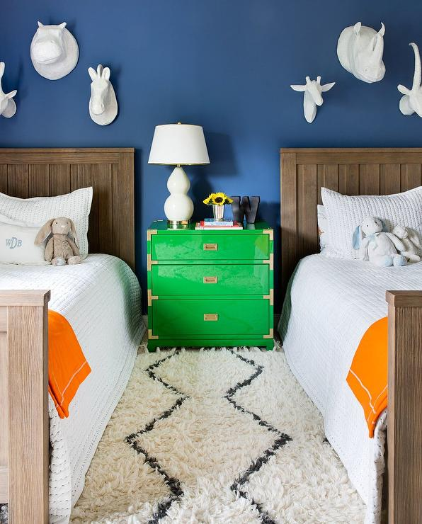 Boys Room with Green Campaign Nightstand Dresser ...
