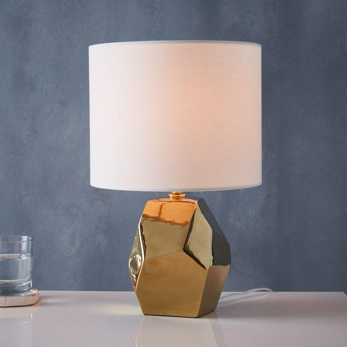 Marvelous Ceramic Nature Gold Geo Table Lamp