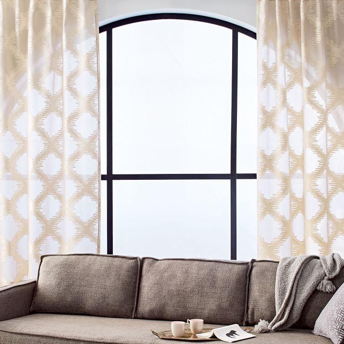 Jacquard Trellis Ivory Curtains