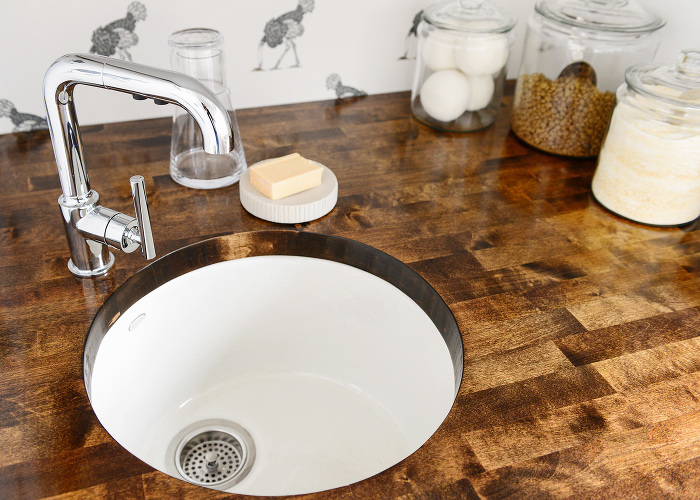 Round Laundry Room Sink With Wood Countertop