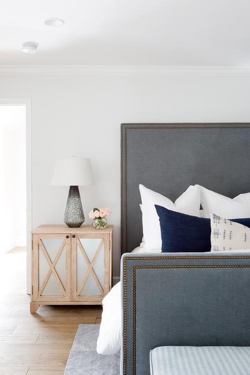Gray Velvet Bed Design Ideas
