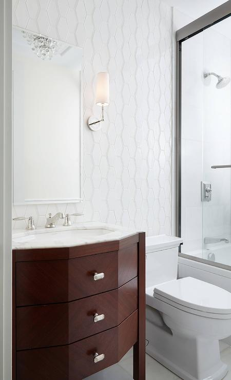 Cherry Stained Sink Vanity With White Honeycomb Tiles Transitional - Honeycomb tile bathroom
