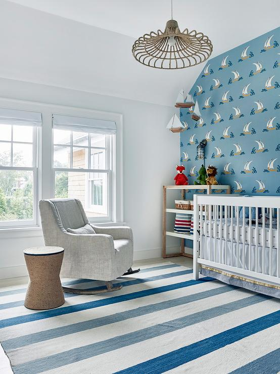 Blue Boy Nursery with Sailboat Wallpaper