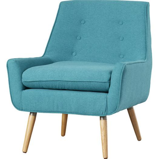 Light Blue Velvet Button Tufted Arm Chair