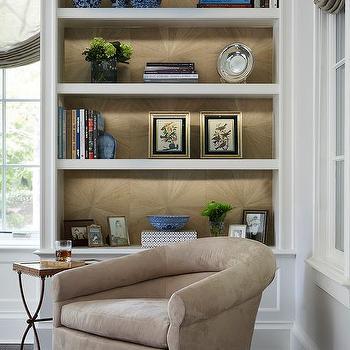 gold sunburst wallpaper on back of bookshelves - Gold Bookshelves