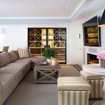 Taupe Linen Sectional With Yellow Stripe PIllows