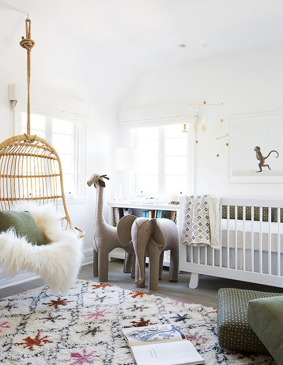 Ethereal Nursery With Hanging Rattan Chair
