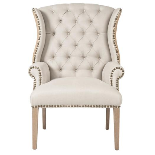Villa Quinn Ivory Tufted Arm Chair