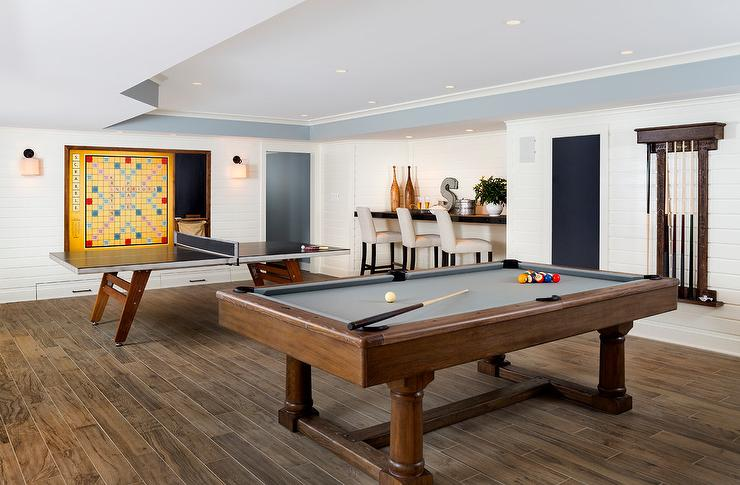 Game Room With Pool Table And Ping Pong Table Contemporary Media - Lucite pool table