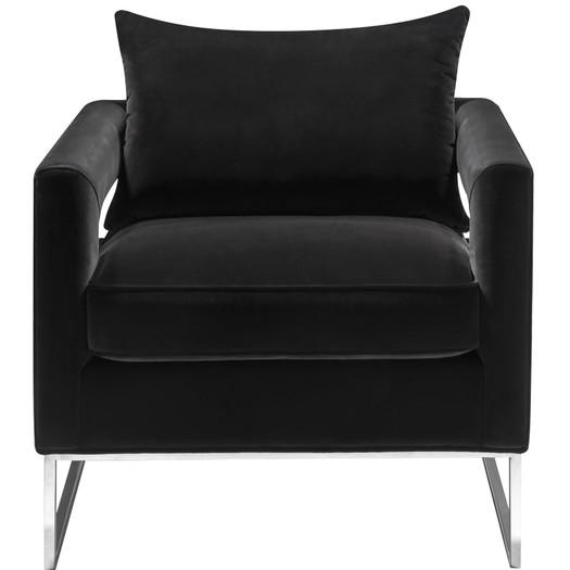 Atara Sloped Black Velvet Gold Metal Chair