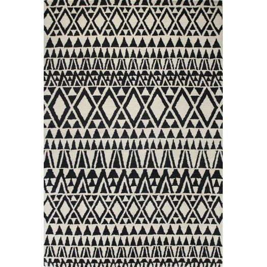 Madeira Black White Geometric Wool Rug