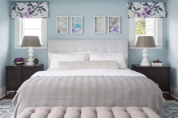 Gray Bedroom With Purple Accents blue and gray bedroom with purple accents - contemporary
