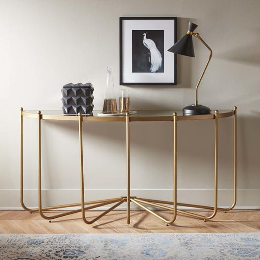 Zanita Gold Glass Top Dramatic Console Table