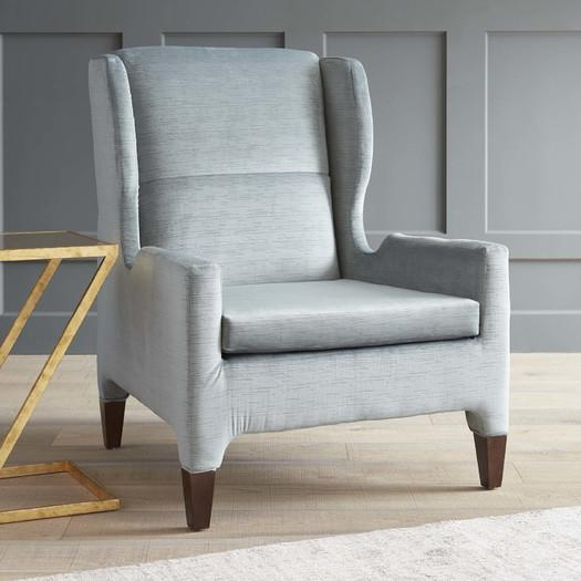 renzo light blue winged arm chair