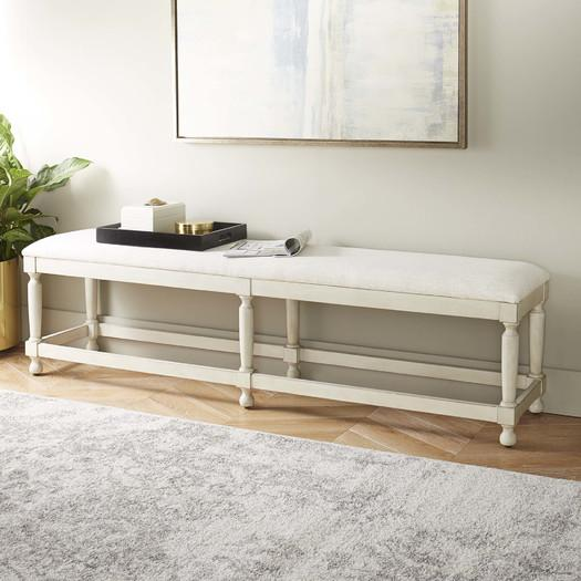 Lasgo White Farmhouse Kitchen Bench