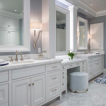 White Beveled Bath Vanity Mirror On Blue Walls