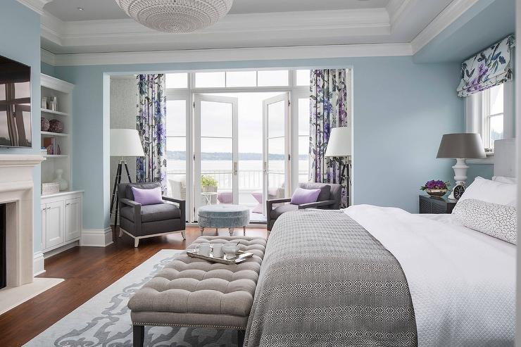 Purple And Gray Bedroom Sitting Area Contemporary
