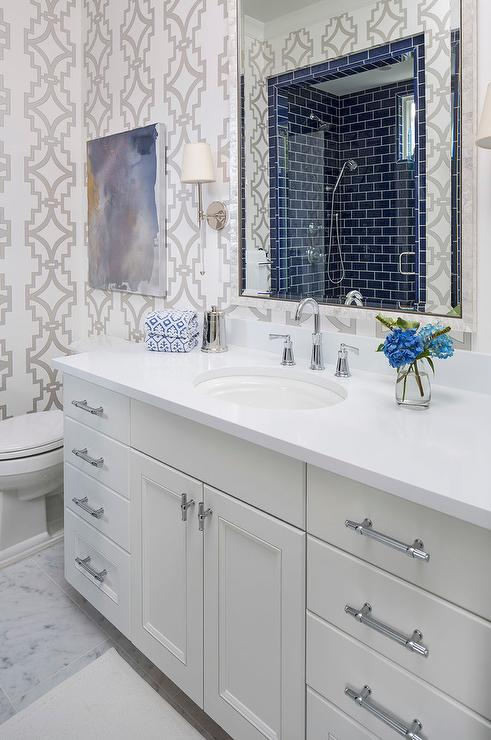 White And Blue Contemporary Bathroom With Dark Blue