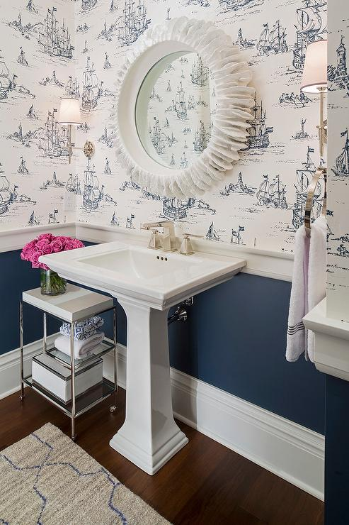 White And Navy Powder Room With Nautical Wallpaper