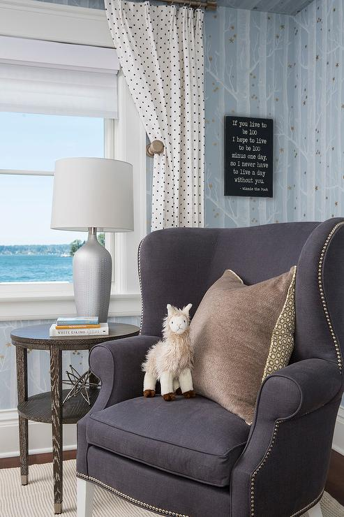 Blue And Gray Nursery With Wingback Chair