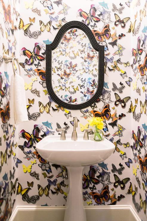 powder room with christian lacroix butterfly parade