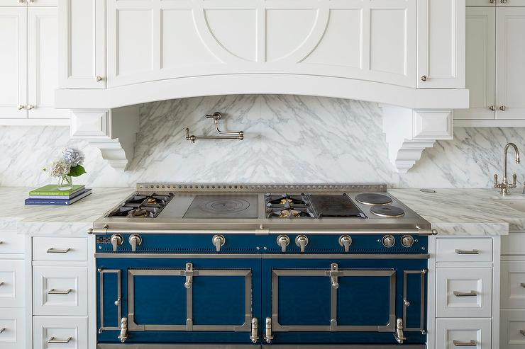 Blue La Cornue Cornufe Range With Grey Marble Cooktop