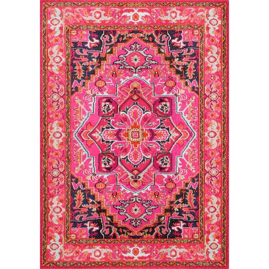 Darius Pink And Gold Wool Area Rug