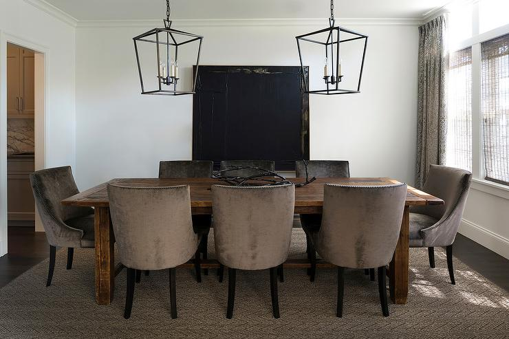 Brown Velvet Dining Chairs With Herringbone Rug