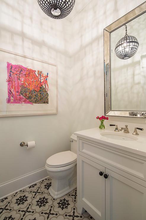 Beading For Bathroom Floor : Contemporary girl bathroom with beaded beveled mirror