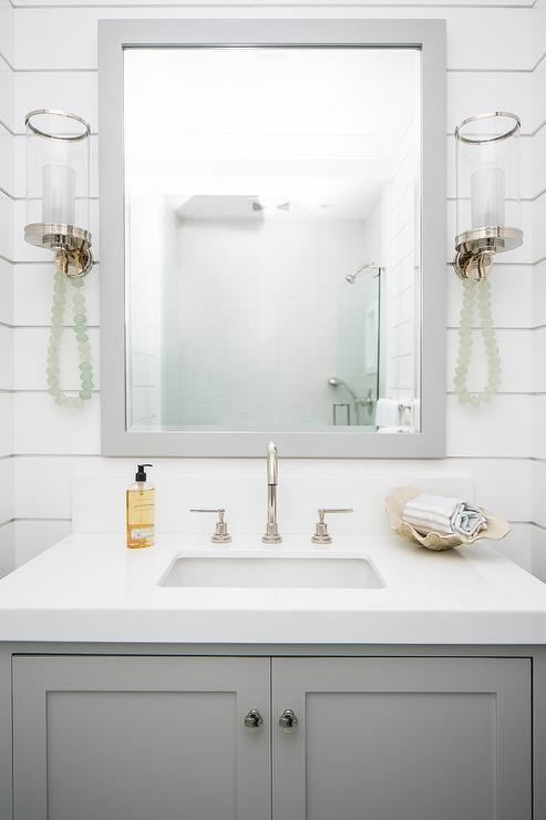 Gray Mirror With White Sink Vanity Cottage Bathroom