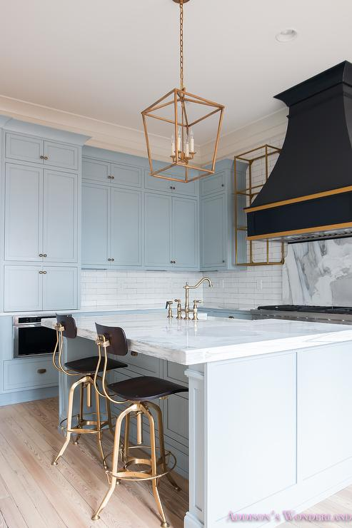 Outstanding Blue Kitchen Island With Gold And Black Counter Stools Alphanode Cool Chair Designs And Ideas Alphanodeonline
