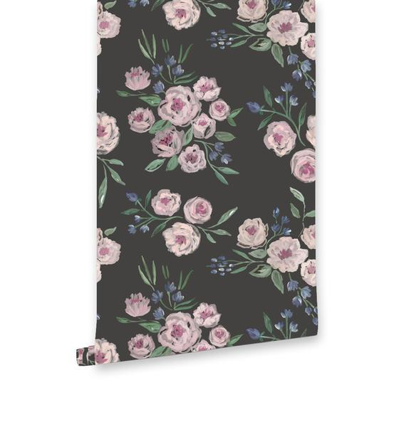 Jardin Noir Charcoal Pastel Floral Wallpaper