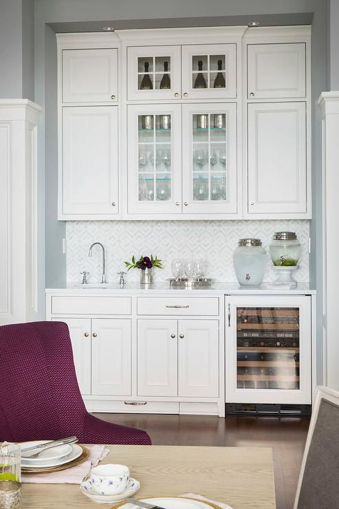 Dining Room Nook With Light Gray Cabinets