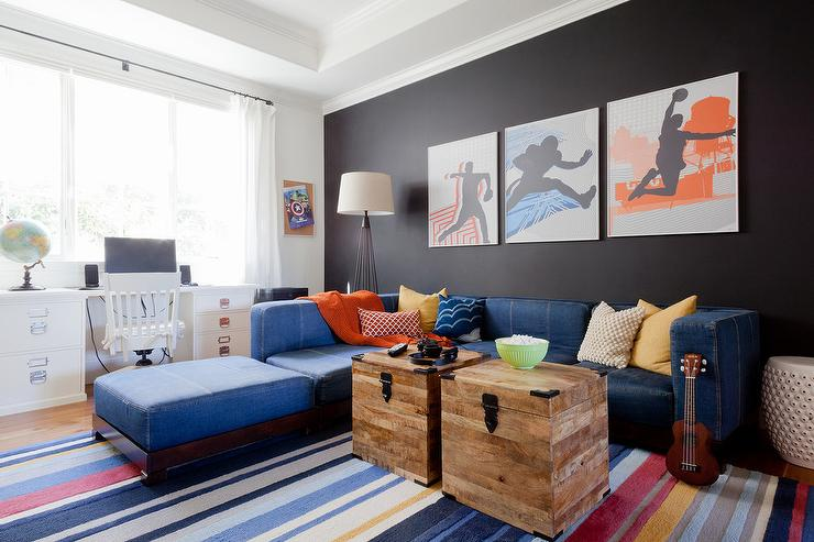 Colorful Family Room With Denim Sectional